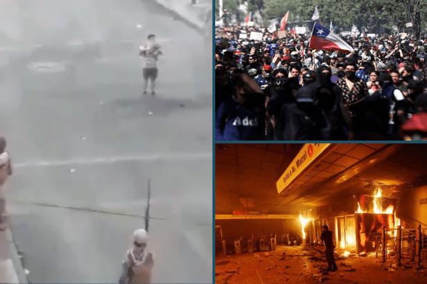 Şili'de sokak gösterileri sürerken, bir genç polisin önünde şarkı söyledi: El Pueblo unido, jamás será vencido