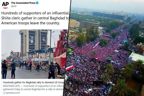 AP sayı saymayı unuttu: Irak'ta ABD'ye karşı 'radikal din adamının yüzlerce takipçisi' toplanmış
