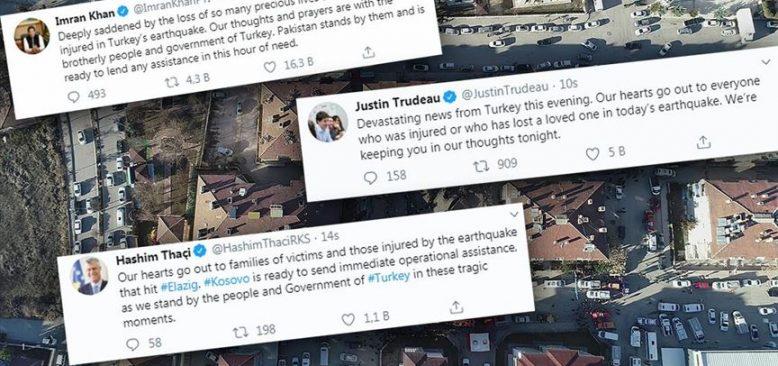 Elazığ depremi dolayısıyla dayanışma ve başsağlığı mesajları