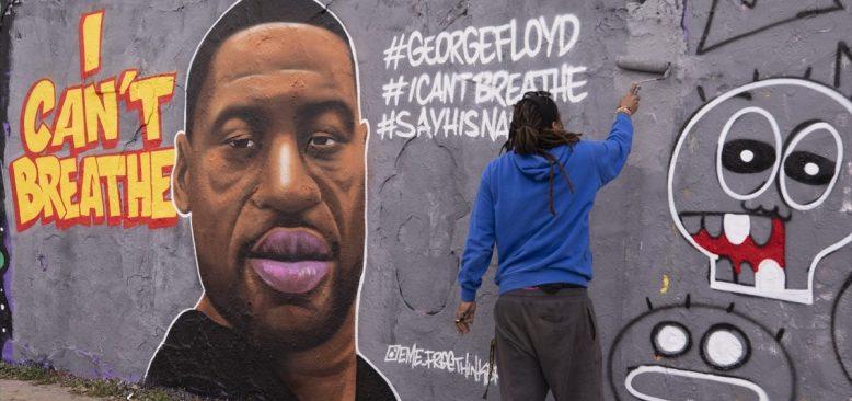 Berlin sokalarında George Floyd'un grafitisi