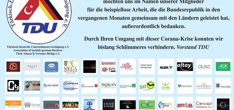 TDU`dan Alman Hükümetine teşekkür