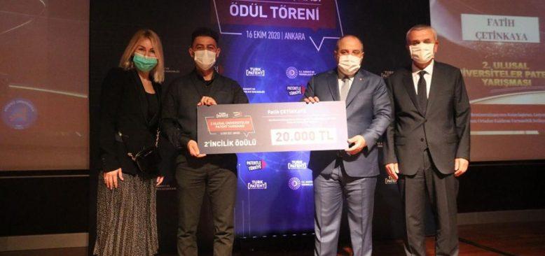 A.Ü Öğrencisine TÜRKPATENT'ten ikincilik ödülü