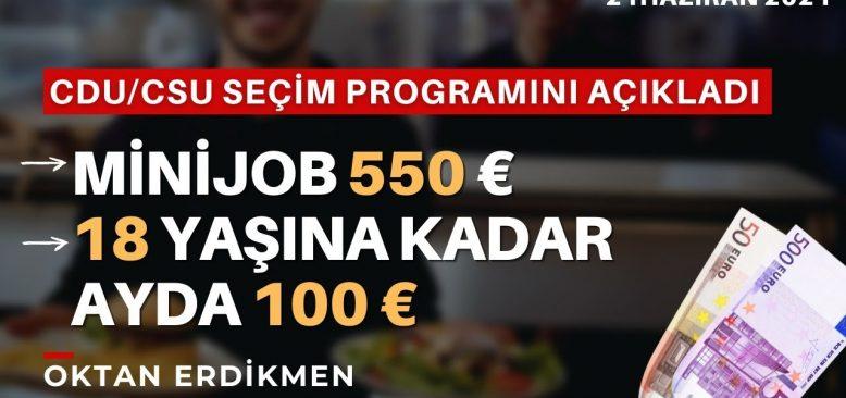 Almanya'da CDU programı: Minijob 550 €