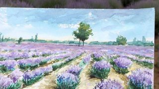 Edirneli ressamlar mor lavanta tarlalarını tuvallere yansıttı